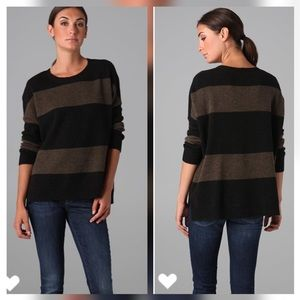 Vince Rugby Striped Crew Neck Wool Sweater